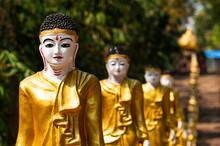 Long Line Of Golden Buddhas Li...