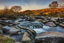 A Moorland Stream On Rugged Moors, The Upper Reaches Of The River Teign, Near Chagford, Dartmoor National Park, Devon, England, United Kingdom