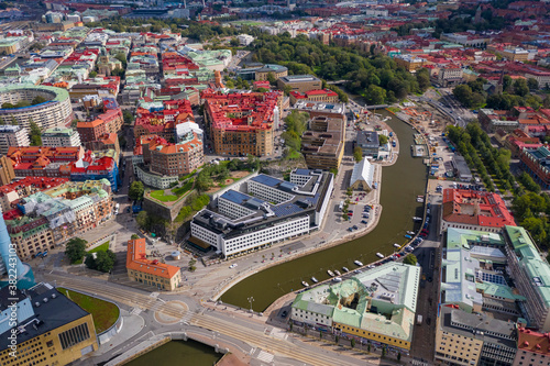 Aerial view by drone of Inom Vallgraven old city by the harbor in Gothenburg, Sweden, Scandinavia - 382243103