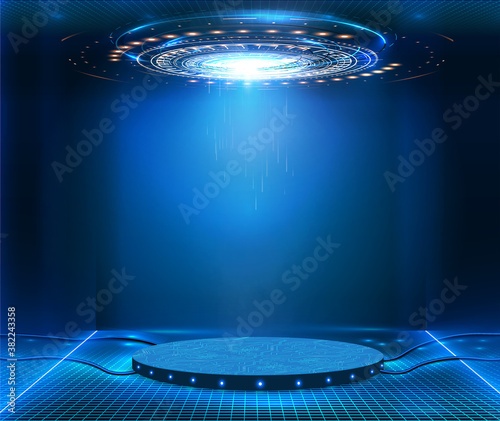 Futuristic pedestal for product presentation. Fantastic circle HUD,GUI,UI interface screen design.Blank display, stage or podium for show product in futuristic cyberpunk style.Technology demonstration