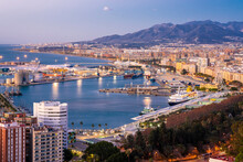 View From The View Point Of Gibralfaro By The Castle With The Harbor Of Malaga At Sunrise, Malaga, Andalusia, Spain
