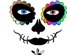 La Catrina For Santa Muerte ,Mexican Death Mask  - Day Of The Dead Holiday, Feast. And For Halloween.