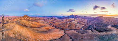 Mountain road crossing the volcanic landscape near Sicasumbre astronomical viewpoint, Fuerteventura, Canary Islands, Spain, Atlantic