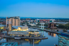 View Of Salford Quays Looking Towards The Lowry Theatre And Old Trafford, Manchester