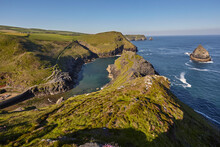 The Spectacular Cove And Harbour At Boscastle, Near Tintagel, On The Atlantic Coast Of North Cornwall
