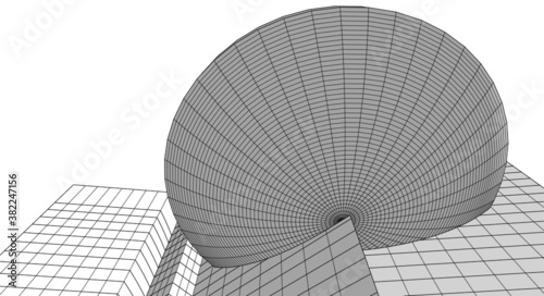 Fototapety, obrazy: abstract architectural drawings vector 3d illustration