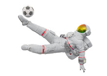 Astronaut Is Playing Soccer