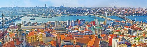 Obraz Panorama of thre bridges above Golden Bay Horn, Istanbul, Turkey - fototapety do salonu