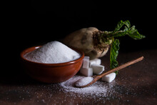Sugar Beet And White Sugar With Rust Background
