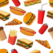 Seamless Pattern Consisting Of Fast Food Images.There Are Burger,pizza,sandwiches And Drinks.Can Be Used For Various Kinds Of Design, Calligraphy And Wrapping Paper.
