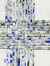 Monochrome Paper Weaving Collage With Blue Splashes
