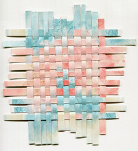 Paper Weaving Collage In Pastel Pink And Blue Colors