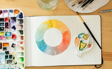 Color Wheel And Palette With Watercolors