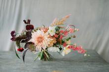 Flower Bouquet Against Grey Cl...
