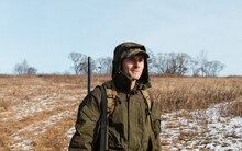 Positive Hunter With Gun In Sn...