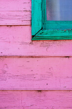 Pink And Green Window Of A Facade In Caminito Street In Buenos Aires