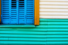 Colorful Metal Window Of A Facade In Caminito Street In Buenos Aires