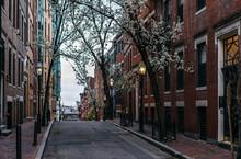 Street In Beacon Hill Neighborhood Of Boston
