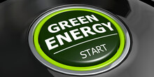 Green Energy Button With Metal Ring