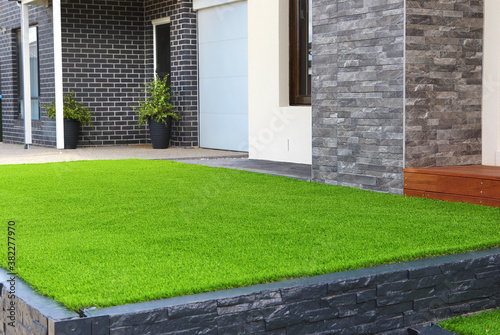 Modern architecture exterior details with Artificial grass