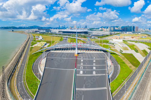 Aerial view of the Zhuhai section of the Hong Kong–Zhuhai–Macau Bridge, China - 382289149