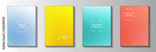 Obraz na plátně Modern point screen tone gradation front page templates vector series