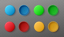 Set Of Realistic 3d Colored Plastic Bottle Caps A Vector Isolated Illustrations.