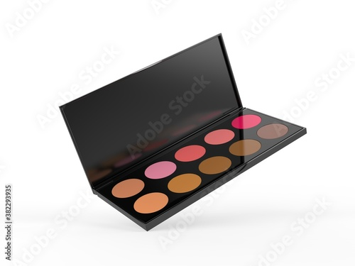 Obraz Blank Cosmetic Ten Colors Professional Foundation Concealer Contour Palette For Branding And Mock Up. 3d Render Illustration. - fototapety do salonu