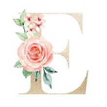 Letter E, Gold Letter, Floral ...