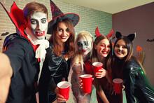 Friends Celebrating Halloween ...