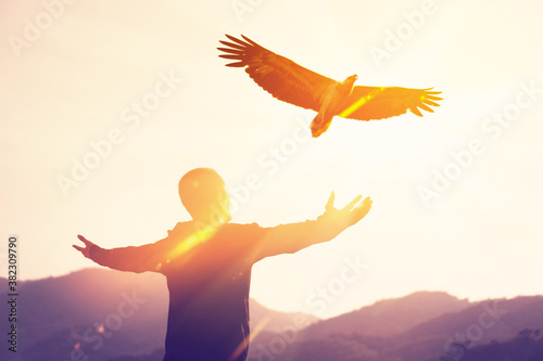 Fotografie, Obraz Man raise hand up on top of mountain and sunset sky with eagle bird fly abstract background