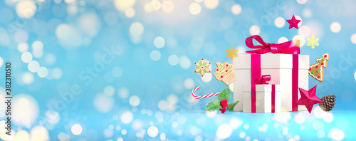 Christmas sparkle gift copy space template. Merry christmas blue glitter gift background. Festive decoration for Christmas Eve holiday. 3d rendering