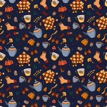 Seamless Pattern Of Autumn Pi...