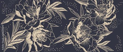 Luxury peony background vector with golden metallic decorate wall art