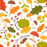 Colorful seamless pattern with oak leaves, mushrooms, apples, berries. Endless natural background with autumn foliage and flowers. Repeatable fall backdrop. Flat vector cartoon illustration