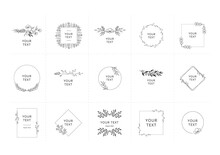 Set Of Hand Drawn Floral Frames And Decorative Elements. Vector Isolated Illustration.