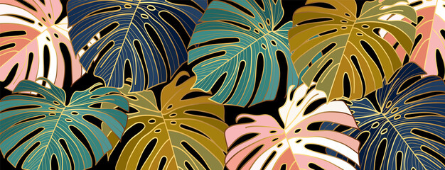 Panel Szklany Liście Luxury gold leaves wallpaper vector. Golden split-leaf Philodendron plant with monstera plant line art green emerald, blue and pink color on dark background. Vector illustration..