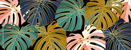 Luxury gold leaves wallpaper vector. Golden split-leaf Philodendron plant with monstera plant line art green emerald, blue  and pink color on dark background. Vector illustration..