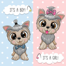 Cartoon Dogs Yorkshire Terrier Boy And Girl
