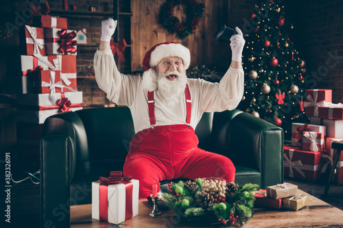 Photo of crazy addicted grey beard santa claus sit ouch have funny x-mas noel pa Wallpaper Mural