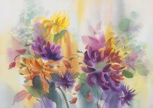 Yellow And Violet Dahlias Pain...