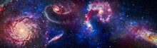 Billions Of Galaxies In The Universe. Cosmic Galaxy Background With Nebula, Stardust And Bright Shining Stars. Elements Of This Image Furnished By NASA.