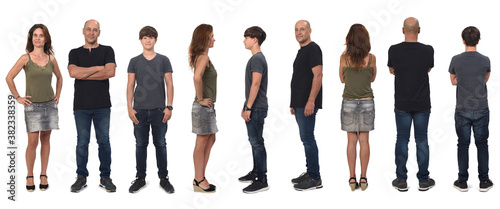 Fotografia rear, front and profile view of a family on white background