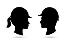 Safety Hat Icon. Man And Woman Head Profile