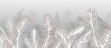 Wallpaper, feathers on a gray background - 382341580