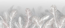 Wallpaper, Feathers On A Gray ...