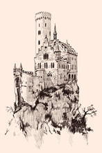 Medieval Stone Castle With Towers On A High Mountain Cliff.