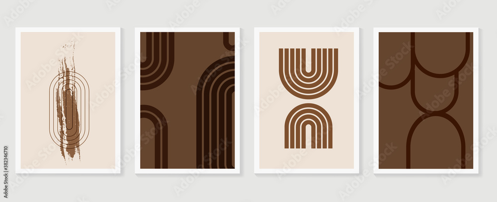 Fototapeta Abstract wall art vector collection.  Abstract organic shape Art design for poster, print, cover, wallpaper, Minimal and  natural wall art. Vector illustration..