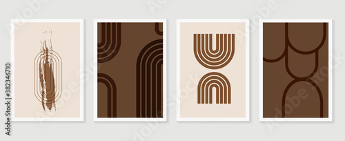 Obraz Abstract wall art vector collection.  Abstract organic shape Art design for poster, print, cover, wallpaper, Minimal and  natural wall art. Vector illustration.. - fototapety do salonu
