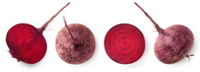 Whole And Cut In Half Beetroot Isolated On White Background